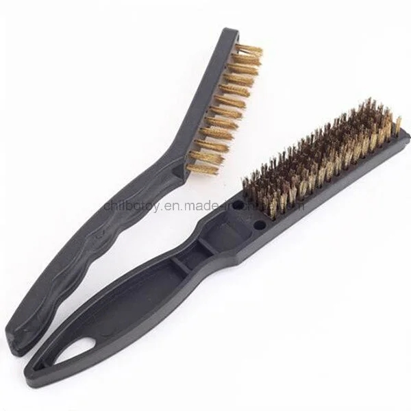 One Ended Utility Plastic Handle Brass Wire Brush
