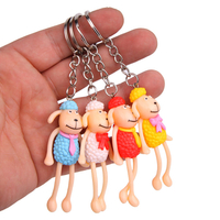 Hot Sale Children 4PCS Long Legs Sheep Couples Wallets Bags Decoration Pendant Gift Souvenir Animal Key Chain Set