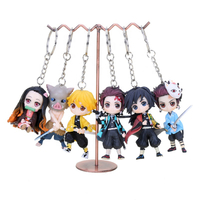 Demon Slayer Kimetsu No Yaiba PVC Toy Keychain Cosplay Anime Nezuko Tanjirou Zenitsu Action Figures Toys Keyring