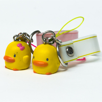 Cute Plastic Yellow Duck Keychain Cartoon Animal Bag Hanging Pendant Keychain Keyring