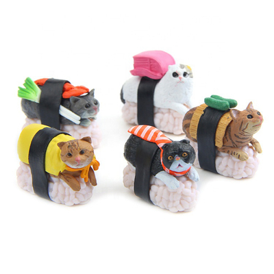 Small Japan Cartoon Original Plastic Animal Cat Figure Children Gift Model Decoration Sushi Cat Action Anime Figure