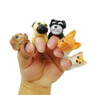 New Fashionable Custom Cute Mini PVC Plastic Animal Dog Rings Toys for Children's Adult's